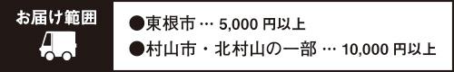 お届け範囲/東根市(5,000円以上)・村山市・北村山の一部(10,000円以上)